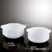 Feine chinesische weiße Porzellan westliche Suppenschüsseln