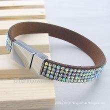 Slake pulseira ímã fivela pulseiras com strass
