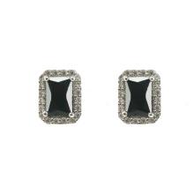 925 Серебряные серьги-гвоздики с черным цирконом