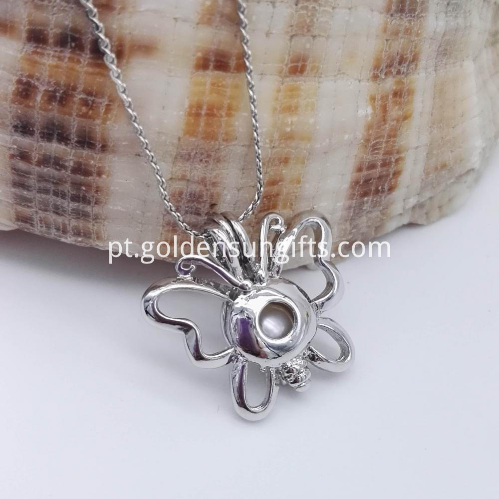 Butterfly Cage Pendant Necklaces