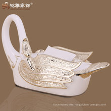 resin material high quality swan tissue box for household ornament