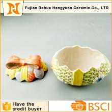 Easter Egg Shape Ceramic Cookie Jar for Home Decoration