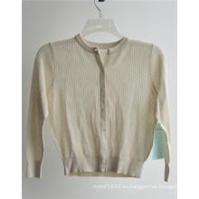 100% Spun seda mujeres de manga larga suéter de rebeca