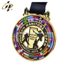 Medalla de metal personalizada aleación de zinc karate desafío competencia metal medalla