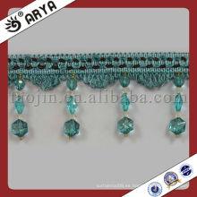 Franja decorativa con reborde de vidrio para decoración de cortinas y prendas de vestir