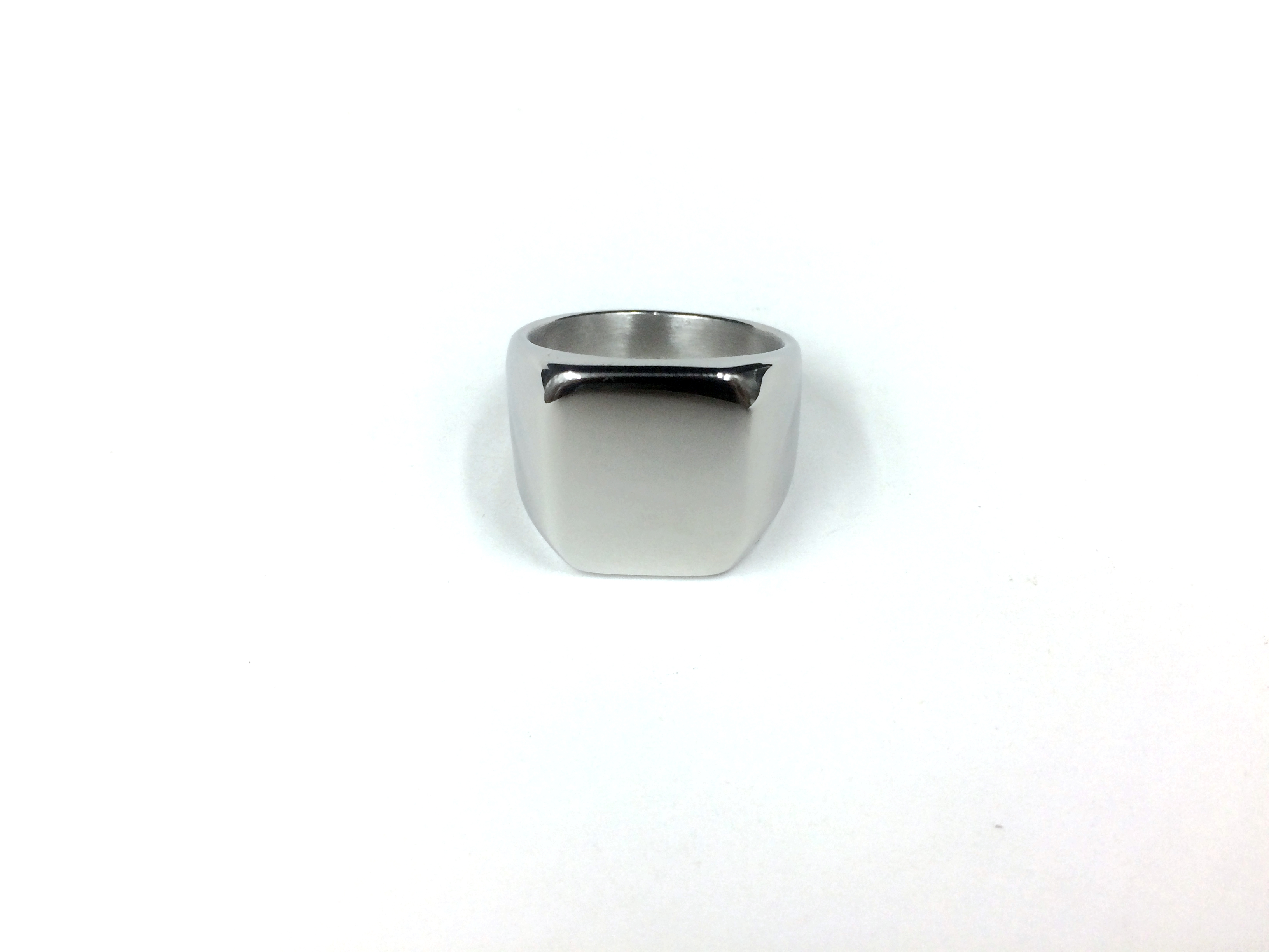 Titanium Steel Blank Surface Square Ring for Men