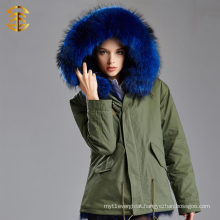 Women's Winter Thick Removable Fur Collar Coat Outerwear Fur Parka