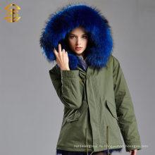 Женская зима Толстый съемный меховой воротник пальто Верхняя одежда Fur Parka