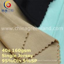 Algodão spandex único jersey tricô tecido para vestuário têxtil (gllml415)
