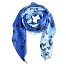 Écharpe en soie artificielle de printemps de polyester imprimée de mode de dames