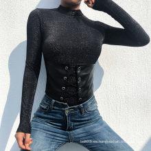 Body casual de manga larga con cinturón de PU