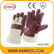 Muebles de cuero rojo de cuero de vaca Guantes de trabajo industriales de seguridad de la mano (310042)
