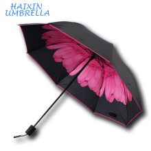 Professional Producer Buy Bulk Cheap Umbrellas Black Vinyl Gum Coating Sunscreen Parapluie Umbrella with Flower Design Printing