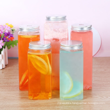 LANDA Homemade Beverages Drinking Container Empty  Square  PET Plastic Juice Bottles with Lids from direct factory