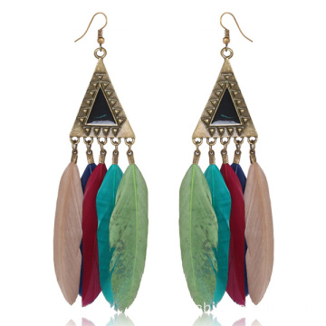 Pendientes de pluma larga barato indio retro oro por mayor Dama