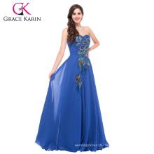 Grace Karin Long Chiffon Sweetheart Strapless Peacock big size Evening Dress for fat women 18W-24W CL6168-3#
