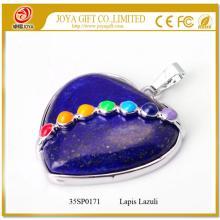 Seven Chakras Stone Lapis Lazuli Heart Pendant