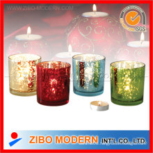 Plating Colored Glass Candle Holder with Europe Pattern (GM7062)