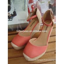 2015 Girls fresh Orange high platform wedge sandals with straw design heelpiece