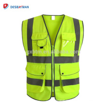 China Class 2 High Visibility Yellow Zipper Front Safety Vest Work Waistcoat With Reflective Strips And 9 Pockets ANSI/ISEA