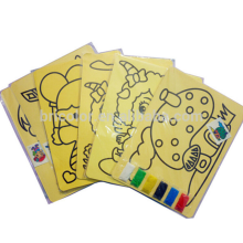 Medium size 16.2x11.7cm Colorful children sand painting card Sand painting