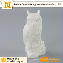 Home Decoration White Ceramic Owl Craft