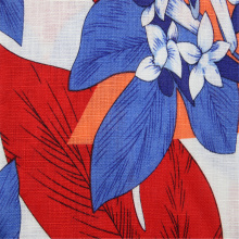Pure linen fabric with big flower printing