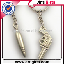 Custom design metal gun and bullet keychain