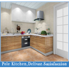 L Shape Classical Design Gabinete de cozinha em madeira maciça