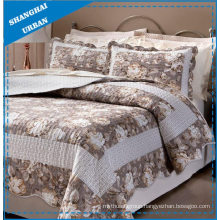 Gray Rose Pattern Polyester Quilted Bedspread Set
