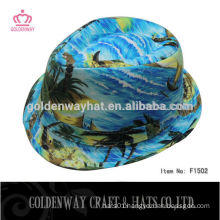 men light blue cotton twill fedora hats
