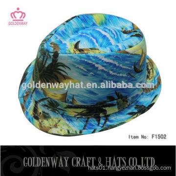 men light blue cotton twill fedora hats
