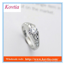 High fashion silver plated arabic engagement rings with diamond
