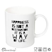 Color blanco con las palabras que imprimen la taza