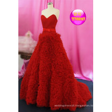 Red Pleat Tulle Prom Coctail Ladies Wedding Bridal Evening Dress