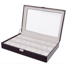 Grande caso de relógio de jóias de 24 grade marrom (hx-a0757)
