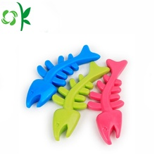 Silicone seguro Pet Mastigar Fish Bone Dog Toys
