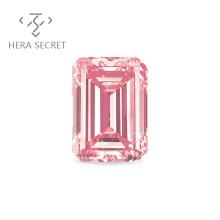 ForeverFlame  fancy pink Emerald Cut diamond CVD CZ Moissanite