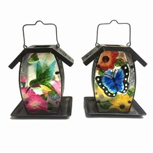 Colorful Stained Glass Garden Decoration Metal Solar Lighted Birdfeeder