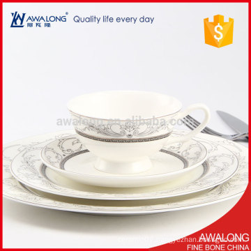 White color Silver Rim Fine luxury Bone China Hotel Party Dinner Set