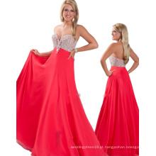 2014 Sexy mais recente design aberto frente sem mangas Sweetheart Andar comprimento Rhinestones Chiffon Evening Gown TP12-05