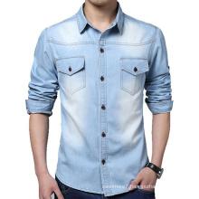 Factory OEM Men Denim Long Sleeve Shirts Cotton Jeans Shirts
