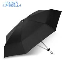 Mini paraguas plegable plegable promocional elegante negro 5 con el marco de aluminio