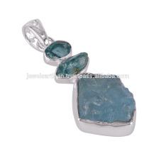 Plata esterlina 925 y Apatita, colgante áspero del Aquamarine
