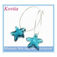 2014 novos produtos estrela de cristal azul dangle prata esterlina hoop brinco