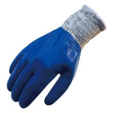 NMSAFETY oil field totalmente recubierto de guantes de mano resistentes al corte de nitrilo