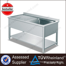 Guangdong Supplier Commercial Stainless Steel Sink With Backsplash