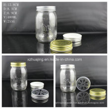 Wholesale 480ml Embossed Mason Glass Canning Jar
