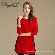 Traje de punto de color rojo otoñal de invierno para damas Suéter de punto de cachemira largo de lujo con dos bolsillos