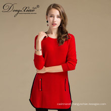 Autumn Winter Red Color Knit Custom For Ladies Fancy Long Cashmere Wool Sweater With Two Pocket